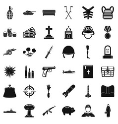 War offense icons set simple style vector