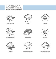 Weather - black and white modern single line icons vector