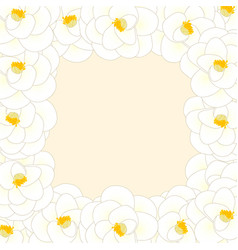 White camellia flower border vector