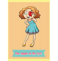 Woman holding apple at the eye vector