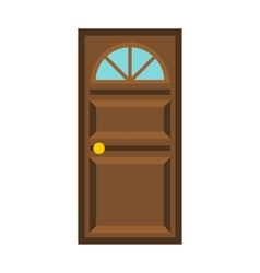 Wooden door with arched glass icon flat style vector image