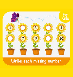 Write missing number worksheet vector