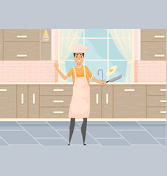 young man cooking breakfast in kitchen household vector image