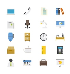 Office and Business Flat Icons color vector image vector image