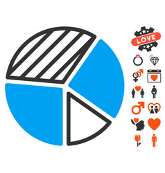 pie chart icon with love bonus vector image vector image