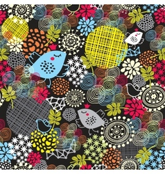 Seamless pattern with cute birds and flowers vector image