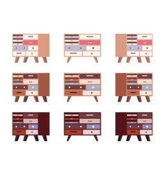 Set of high retro sideboards with drawers and vector image