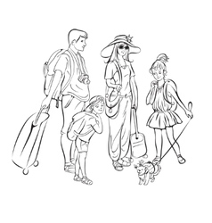 Tour group tourists vector image vector image