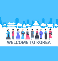 welcome to korea people in traditional costumes vector image