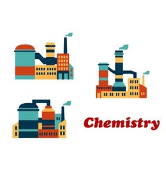 Colorful flat buildings of chemical factories or vector image