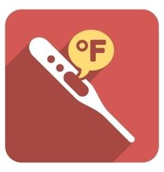 Fahrenheit temperature flat rounded square icon vector