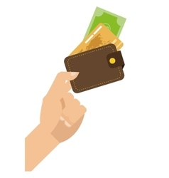 hand holding credit cards icon vector image