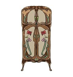 jugendstil wardrobe with flowers vector image