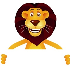 lion cartoon and blank sign vector image