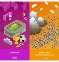Soccer Stadium Olympic Village Isometric Banners vector image vector image
