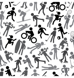 sport silhouettes gray-scale simple icons seamless vector image
