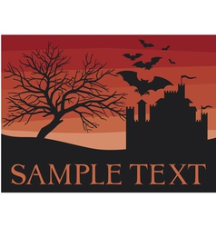 bats flying with old castle and scary black tree vector image