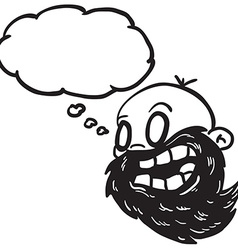 black and white bearded bald man with thought vector image vector image