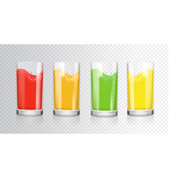 fruit colored juices transparent glasses vector image