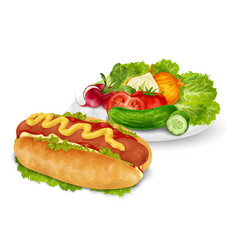 Hot dog with vegetables vector image