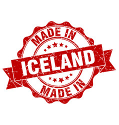 made in iceland round seal vector image vector image