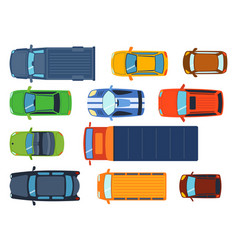 overhead top view on colorful car toys different vector image vector image