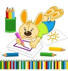 rabbit drawing pencils vector image