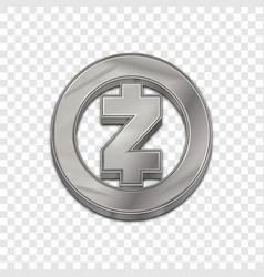 Silver zcash coin trendy 3d style icon vector