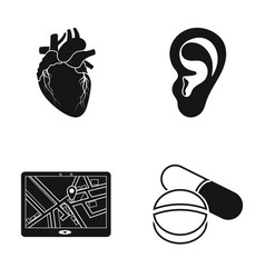 A heart ear and other web icon in black style vector