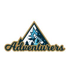 Adventure logo mountain landscape forest hand vector