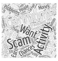 BWG how to spot a gambling scam Word Cloud Concept vector image vector image