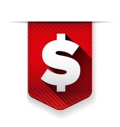 Dollar sign red icon ribbon vector