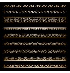 Gold border set vector image vector image