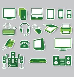 Media Icon Set Green Color vector image vector image