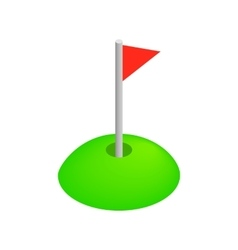 Red golf flag isometric 3d icon vector image vector image