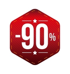 Sale ninety percent off banner red patch vector