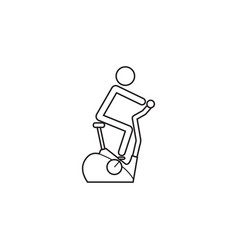 Stationary bicycle line icon exercise bike vector