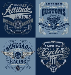 Vintage motorsport emblem graphic set vector image