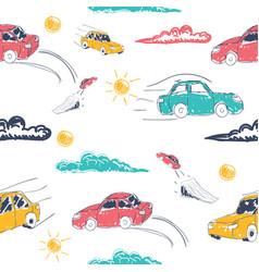amazing seamless car pattern vector image