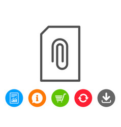 Attach document line icon file sign vector