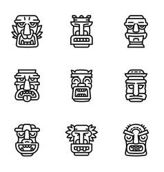 Aztec idol icon set outline style vector