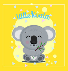 baby koala eat eucalyptus for shower party vector image