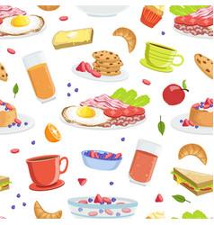 breakfast food seamless pattern tasty morning vector image