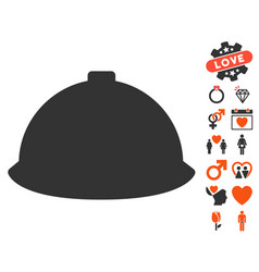 Builder helmet icon with love bonus vector