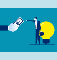 Businessman dont sell his ideas concept business vector