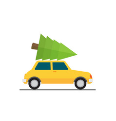car driven by a christmas tree vector image
