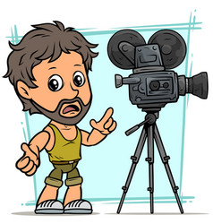 cartoon bearded boy character with movie camera vector image