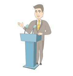 caucasian politician giving a speech from tribune vector image