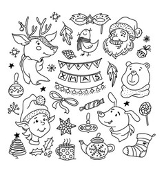 christmas doodle set with santa deer dog and elf vector image