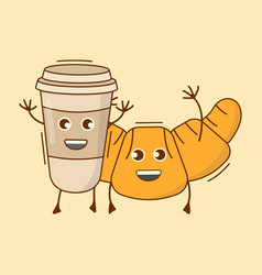 Coffee with croissant icon cute character food vector
